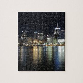 Horizonte de Pittsburgh en la noche del parque de  Rompecabezas Con Fotos