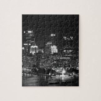 Horizonte de Pittsburgh en la noche Rompecabeza Con Fotos