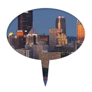 Horizonte de Pittsburgh en la oscuridad Decoración Para Tarta