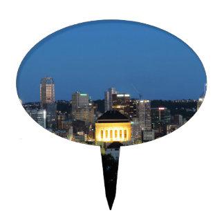 Horizonte de Pittsburgh en la oscuridad Figuras Para Tartas