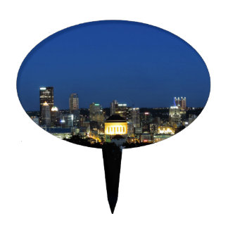 Horizonte de Pittsburgh en la oscuridad Decoraciones Para Tartas