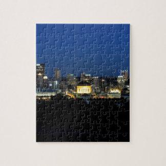 Horizonte de Pittsburgh en la oscuridad Puzzle Con Fotos