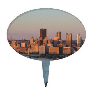 Horizonte de Pittsburgh en la puesta del sol Figuras Para Tartas