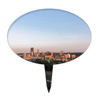 Horizonte de Pittsburgh en la puesta del sol Figura De Tarta