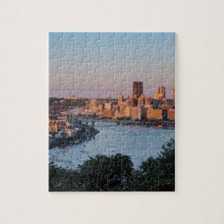 Horizonte de Pittsburgh en la puesta del sol Rompecabeza Con Fotos