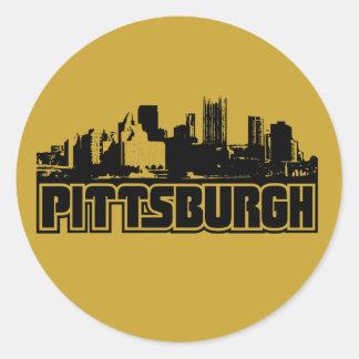Horizonte de Pittsburgh Etiquetas Redondas