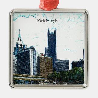 Horizonte de Pittsburgh Pennsylvania Adorno Navideño Cuadrado De Metal