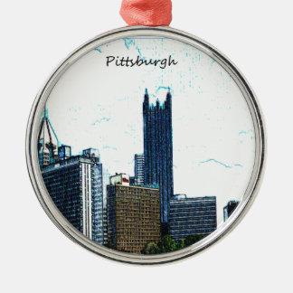 Horizonte de Pittsburgh Pennsylvania Adorno Navideño Redondo De Metal