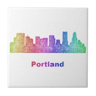 Horizonte de Portland del arco iris Azulejo Cuadrado Pequeño
