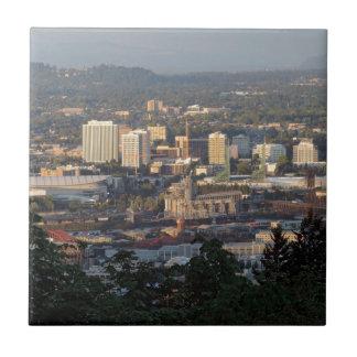 Horizonte de Portland en la puesta del sol Azulejo Cuadrado Pequeño