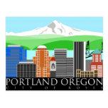 Horizonte de Portland Oregon con la capilla del Postales