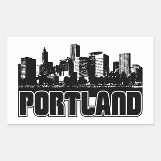 Horizonte de Portland Rectangular Pegatina