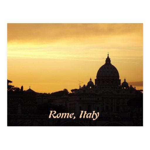 Horizonte de Roma en la puesta del sol Tarjeta Postal