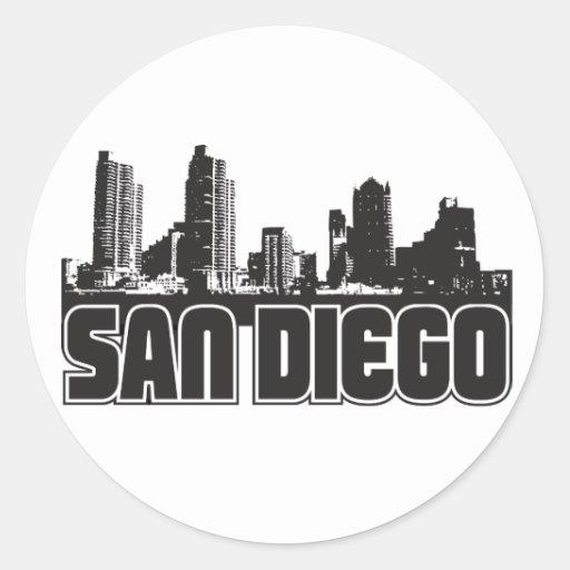Horizonte de San Diego Etiqueta Redonda
