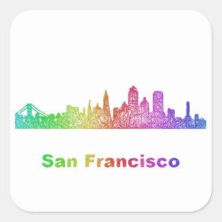 Horizonte de San Francisco del arco iris Pegatina Cuadrada
