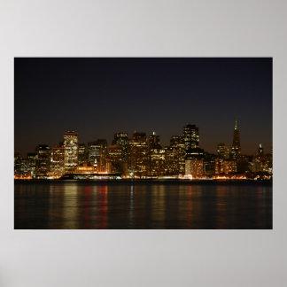 Horizonte de San Francisco en la noche Poster