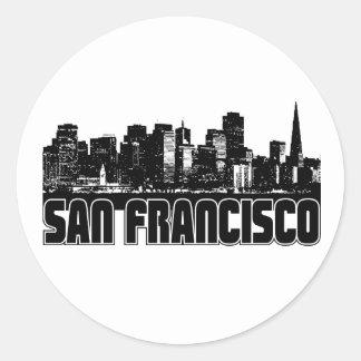 Horizonte de San Francisco Pegatina Redonda