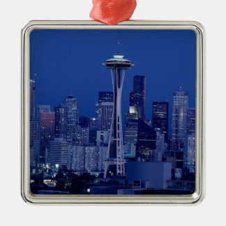 Horizonte de Seattle Adorno Navideño Cuadrado De Metal