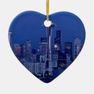 Horizonte de Seattle Adorno Navideño De Cerámica En Forma De Corazón
