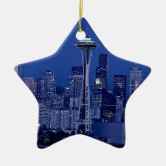 Horizonte de Seattle Adorno Navideño De Cerámica En Forma De Estrella