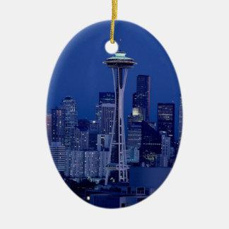 Horizonte de Seattle Adorno Navideño Ovalado De Cerámica