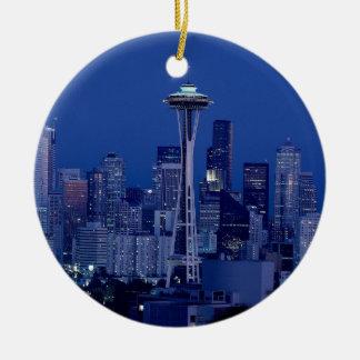 Horizonte de Seattle Adorno Navideño Redondo De Cerámica