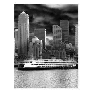 horizonte de Seattle blanco y negro Postal