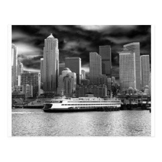 horizonte de Seattle blanco y negro Tarjeta Postal