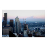 Horizonte de Seattle con el Monte Rainier Impresiones