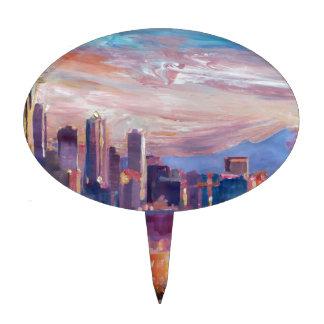 Horizonte de Seattle con la aguja del espacio y Mt Decoración Para Tarta