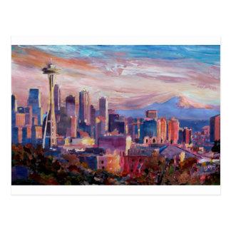 Horizonte de Seattle con la aguja del espacio y Mt Postal