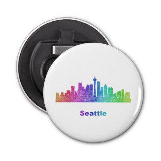 Horizonte de Seattle del arco iris Abrebotellas Redondo