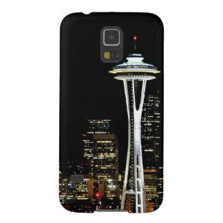 Horizonte de Seattle en la noche, con la aguja del Carcasa De Galaxy S5