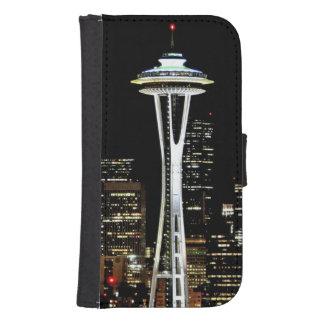Horizonte de Seattle en la noche, con la aguja del Funda Tipo Cartera Para Galaxy S4