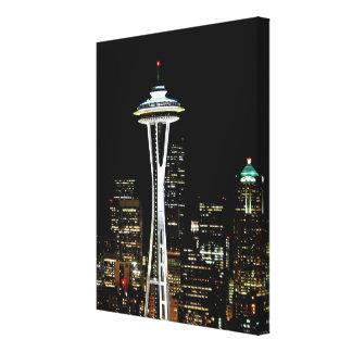 Horizonte de Seattle en la noche, con la aguja del Impresión En Lienzo