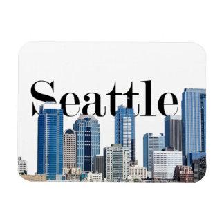 Horizonte de Seattle WA con Seattle en el imán del