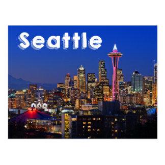 Horizonte de Seattle, Washington en la noche los Tarjeta Postal
