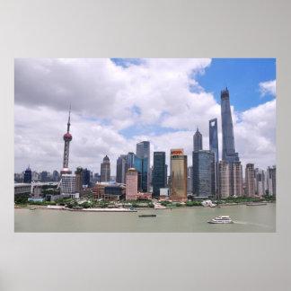 Horizonte de Shangai, China Póster