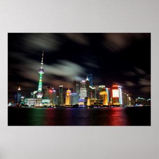 Horizonte de Shangai por noche