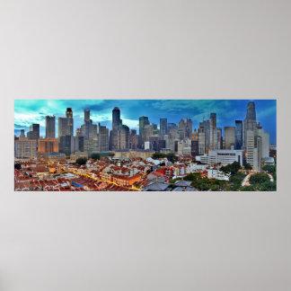 Horizonte de Singapur visto de Chinatown en la pue Póster