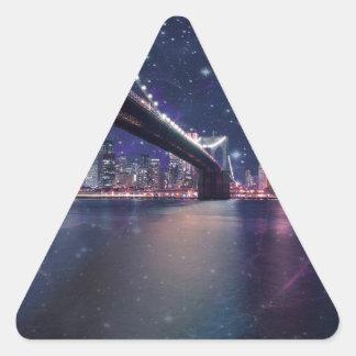 Horizonte de Spacey Manhattan Pegatina Triangular
