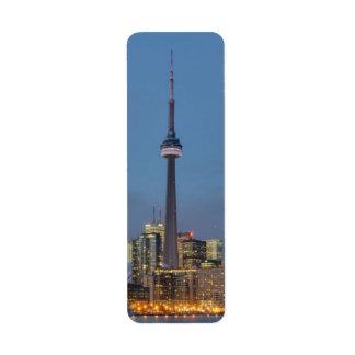 Horizonte de Toronto en la noche Etiqueta De Remite