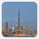 Horizonte de Toronto en la noche Pegatina Cuadrada