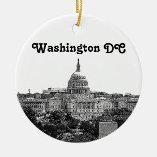 Horizonte de Washington grabado al agua fuerte Adorno Navideño Redondo De Cerámica