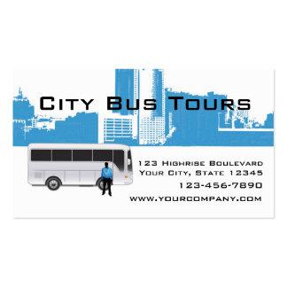 Horizonte del autobús y de la ciudad tarjetas de visita