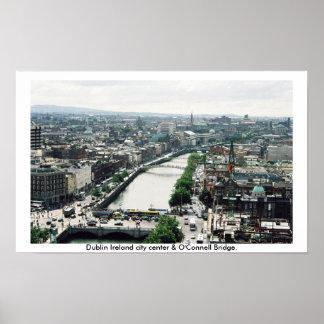 Horizonte del centro de ciudad de Dublín Irlanda Póster