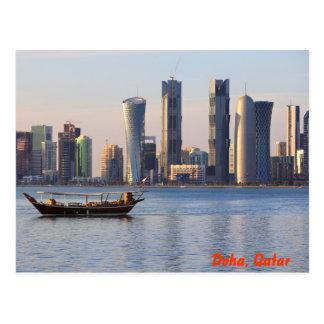 Horizonte del Dhow y de Doha Tarjetas Postales