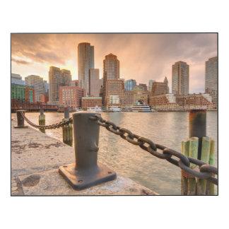 Horizonte del distrito financiero de Boston Impresión En Madera