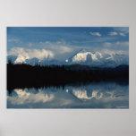 Horizonte del lago mirror con el bosque y las mont impresiones