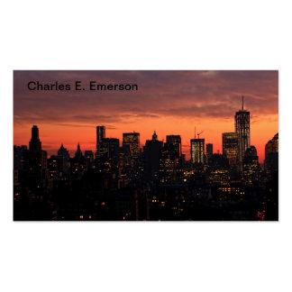 Horizonte del Lower Manhattan en el crepúsculo, ci Tarjetas Personales